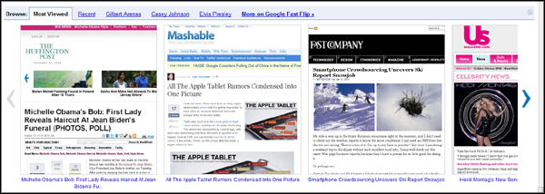 Google Fast Flip screen shot