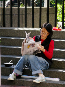 Reading A Newspaper in San Francisco