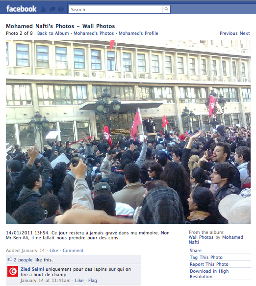 Screen Shot From the Facebook Wall of Mohamed Nafti 1/14/2011
