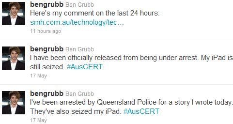 Ben Grubb Arrest Tweets