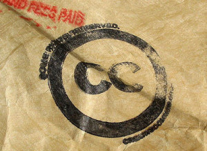 Creative Commons Logo Stamped on Paper